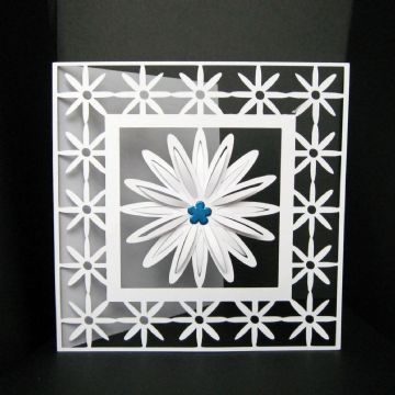Daisy frame square card template 6 x 6 inch